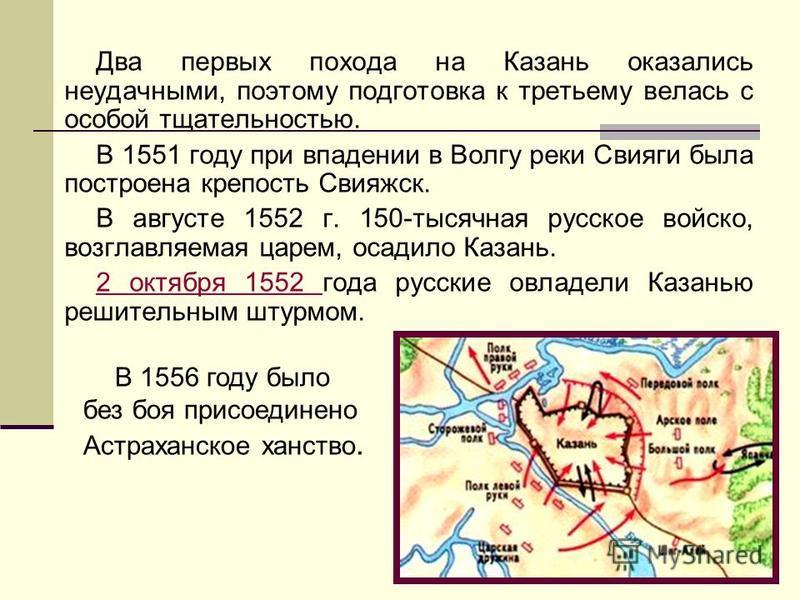 Два первых похода на Казань оказались неудачными, поэтому подготовка к третьему велась с особой тщательностью. В 1551 году при впадении в Волгу реки Свияги была построена крепость Свияжск. В августе 1552 г. 150-тысячная русское войско, возглавляемая