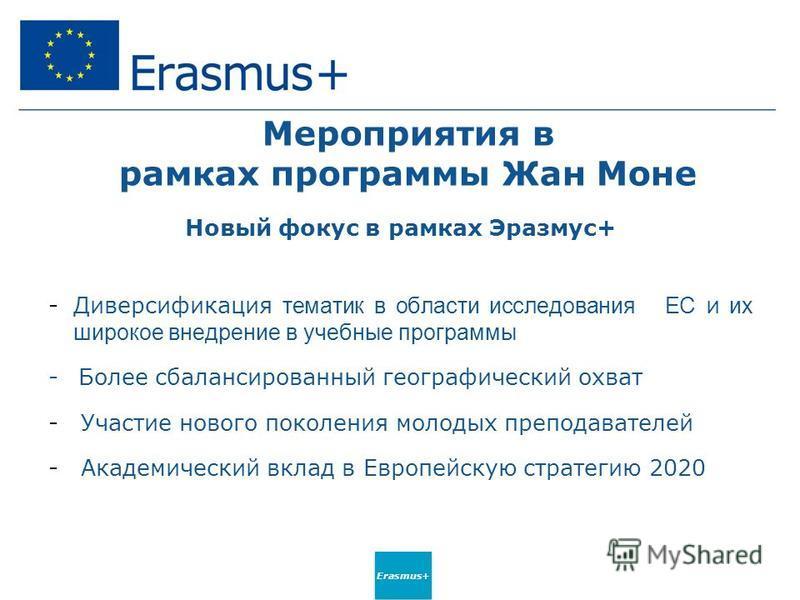 Erasmus+ Мероприятия в рамках программы Жан Моне Новый фокус в рамках Эразмус+ -Диверсификация тематик в области исследования ЕС и их широкое внедрение в учебные программы - Более сбалансированный географический охват - Участие нового поколения молод