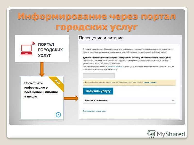 Информирование через портал городских услуг