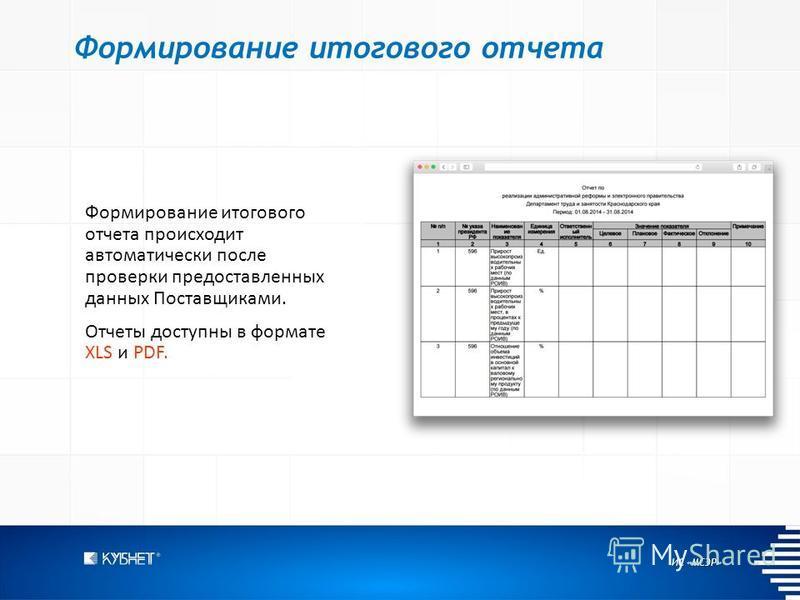ИС «МСЭР» Формирование итогового отчета Формирование итогового отчета происходит автоматически после проверки предоставленных данных Поставщиками. Отчеты доступны в формате XLS и PDF.