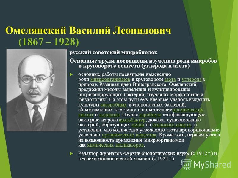 Омелянский Василий Леонидович (1867 – 1928) русский советский микробиолог. Основные труды посвящены изучению роли микробов в круговороте веществ (углерода и азота) основные работы посвящены выяснению роли микроорганизмов в круговороте азота и углерод