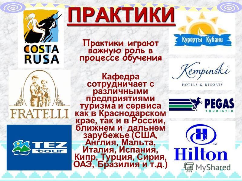 ПРАКТИКИ Практики играют важную роль в процессе обучения Кафедра сотрудничает с различными предприятиями туризма и сервиса как в Краснодарском крае, так и в России, ближнем и дальнем зарубежье (США, Англия, Мальта, Италия, Испания, Кипр, Турция, Сири