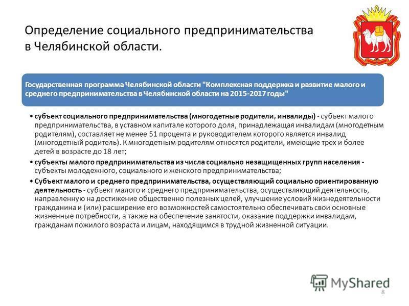 Определение социального предпринимательства в Челябинской области. Государственная программа Челябинской области