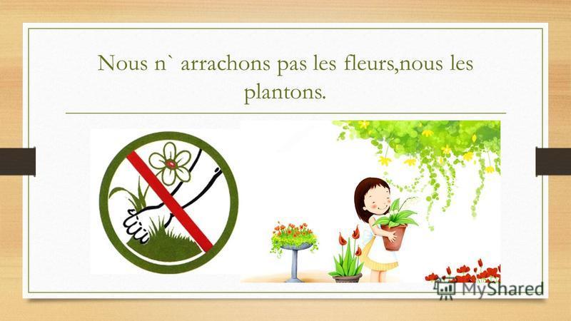 Nous n` arrachons pas les fleurs,nous les plantons.