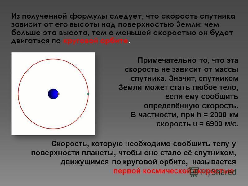 Из полученной формулы следует, что скорость спутника зависит от его высоты над поверхностью Земли: чем больше эта высота, тем с меньшей скоростью он будет двигаться по круговой орбите. Примечательно то, что эта скорость не зависит от массы спутника.