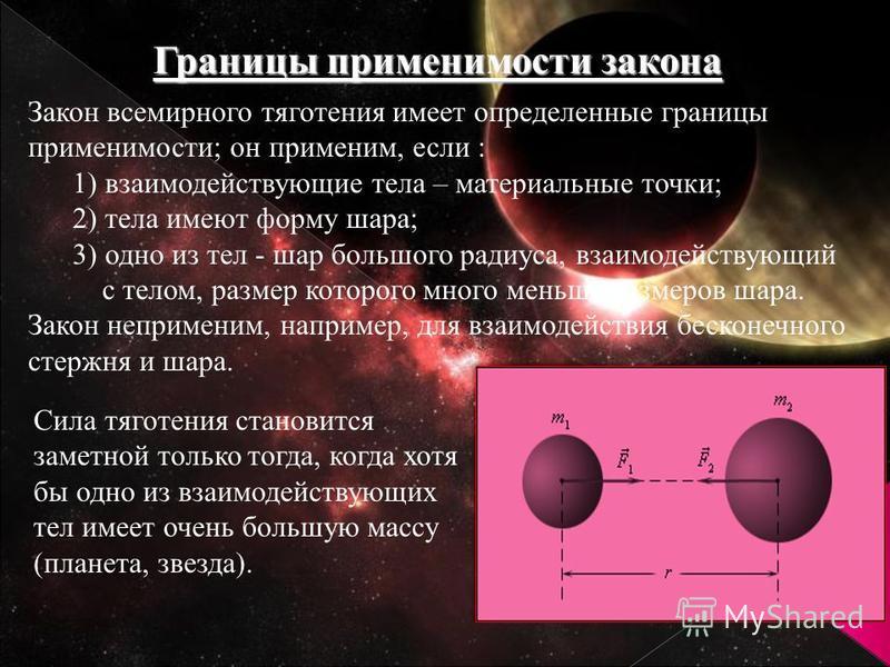 Границы применимости закона Закон всемирного тяготения имеет определенные границы применимости; он применим, если : 1) взаимодействующие тела – материальные точки; 2) тела имеют форму шара; 3) одно из тел - шар большого радиуса, взаимодействующий с т
