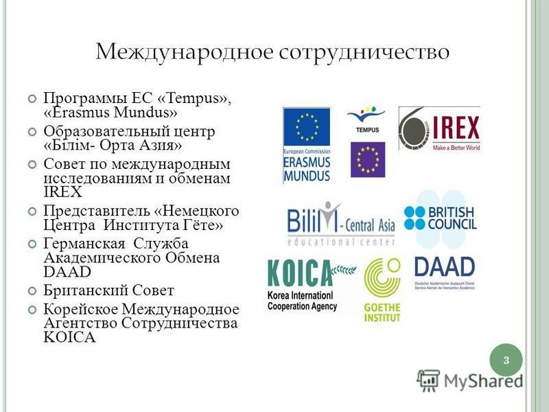 Программы ЕС «Tempus», «Erasmus Mundus» Образовательный центр «Білім- Орта Азия» Совет по международным исследованиям и обменам IREX Представитель «Немецкого Центра Института Гёте» Германская Служба Академического Обмена DAAD Британский Совет Корейск