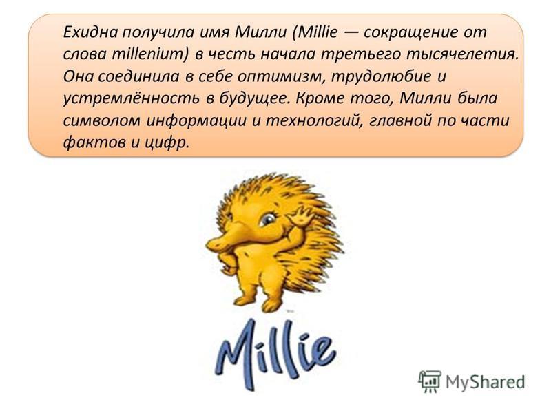 Ехидна получила имя Милли (Millie сокращение от слова millenium) в честь начала третьего тысячелетия. Она соединила в себе оптимизм, трудолюбие и устремлённость в будущее. Кроме того, Милли была символом информации и технологий, главной по части факт