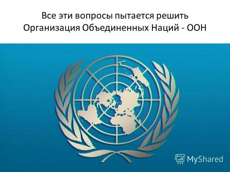 Все эти вопросы пытается решить Организация Объединенных Наций - ООН