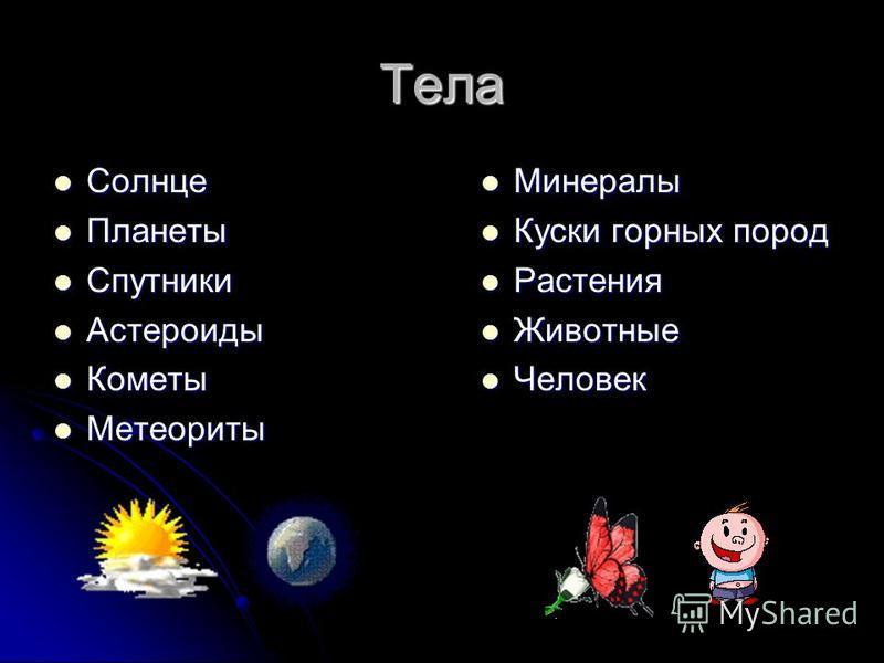 Тела Солнце Солнце Планеты Планеты Спутники Спутники Астероиды Астероиды Кометы Кометы Метеориты Метеориты Минералы Минералы Куски горных пород Куски горных пород Растения Растения Животные Животные Человек Человек