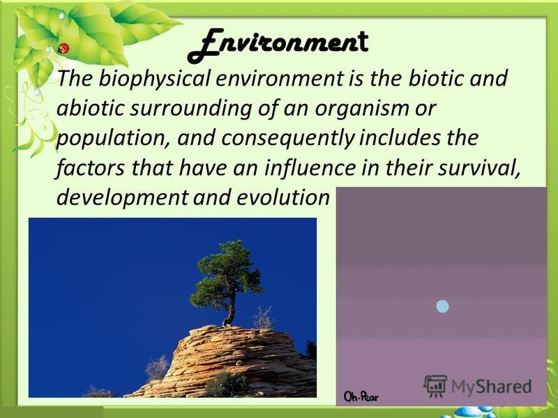 Environmen t The biophysical environment is the biotic and abiotic surrounding of an organism or population, and consequently includes the factors that have an influence in their survival, development and evolution