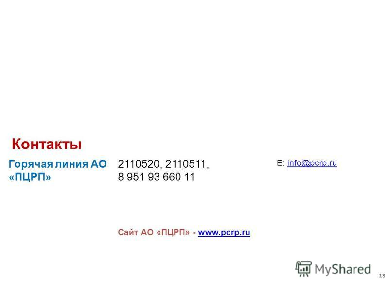 Горячая линия АО «ПЦРП» 2110520, 2110511, 8 951 93 660 11 E: info@pcrp.ruinfo@pcrp.ru Сайт АО «ПЦРП» - www.pcrp.ruwww.pcrp.ru Контакты 13
