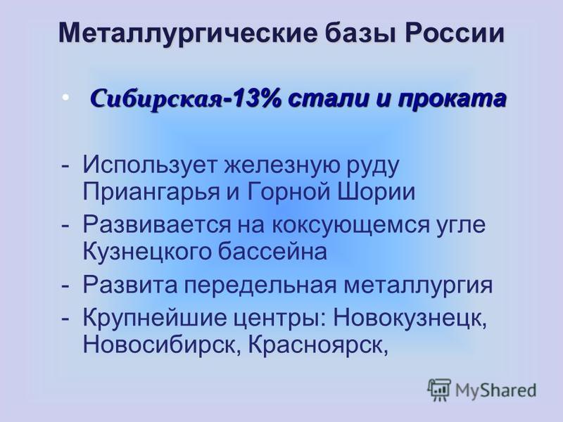 Сибирская -13% стали и проката -Использует железную руду Приангарья и Горной Шории -Развивается на коксующемся угле Кузнецкого бассейна -Развита передельная металлургия -Крупнейшие центры: Новокузнецк, Новосибирск, Красноярск, Металлургические базы Р