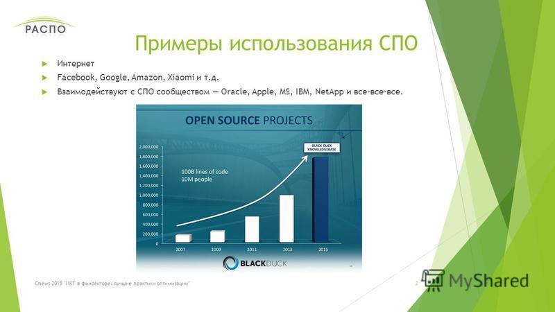 Примеры использования СПО Интернет Facebook, Google, Amazon, Хiaomi и т.д. Взаимодействуют с СПО сообществом Oracle, Apple, MS, IBM, NetApp и все-все-все. 3Cnews 2015 ИКТ в фин секторе: лучшие практики оптимизации