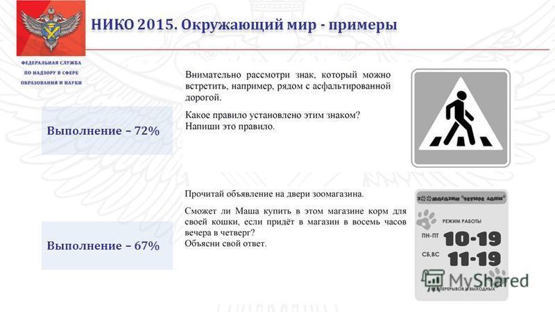 НИКО 2015. Окружающий мир - примеры Выполнение – 72% Выполнение – 67%
