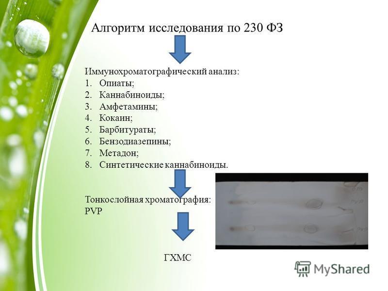 Алгоритм исследования по 230 ФЗ Иммунохроматографический анализ: 1.Опиаты; 2.Каннабиноиды; 3.Амфетамины; 4.Кокаин; 5.Барбитураты; 6.Бензодиазепины; 7.Метадон; 8. Синтетические каннабиноиды. Тонкослойная хроматография: PVP ГХМС
