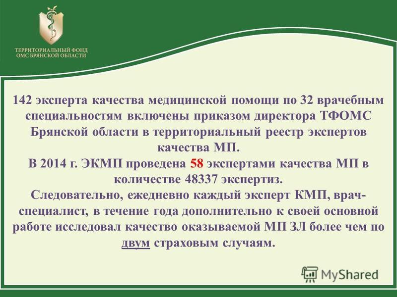 142 эксперта качества медицинской помощи по 32 врачебным специальностям включены приказом директора ТФОМС Брянской области в территориальный реестр экспертов качества МП. В 2014 г. ЭКМП проведена 58 экспертами качества МП в количестве 48337 экспертиз