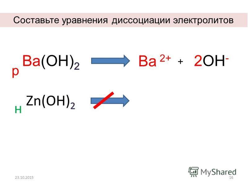 23.10.201516 р Ва 2+ + 2OН-2OН- н Составьте уравнения диссоциации электролитов