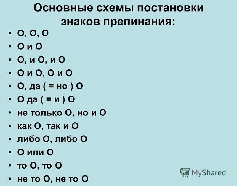 Основные схемы постановки знаков препинания: О, О, О О и О О, и О, и О О и О, О и О О, да ( = но ) О О да ( = и ) О не только О, но и О как О, так и О либо О, либо О О или О то О, то О не то О, не то О