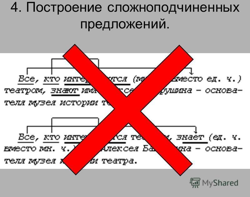 4. Построение сложноподчиненных предложений.