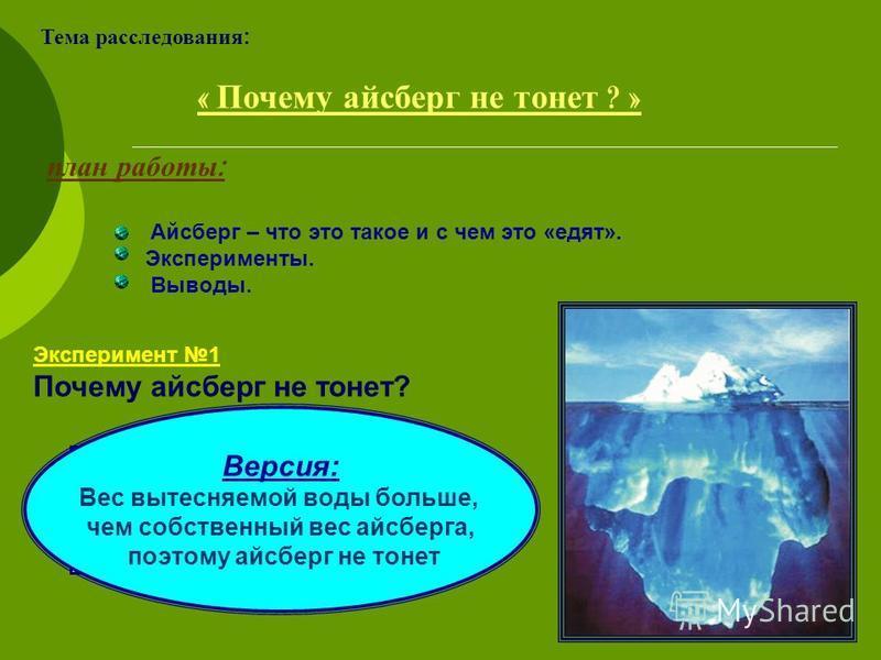 Тема расследования: « Почему айсберг не тонет ? » Эксперимент 1 Почему айсберг не тонет? план работы : Айсберг – что это такое и с чем это «едят». Эксперименты. Выводы. Версия: Вес вытесняемой воды больше, чем собственный вес айсберга, поэтому айсбер