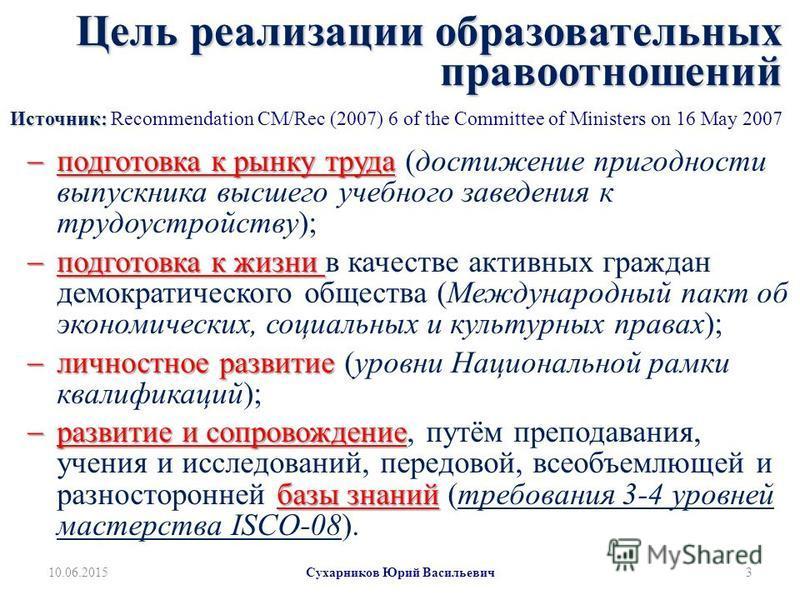 Цель реализации образовательных правоотношений Источник: Цель реализации образовательных правоотношений Источник: Recommendation CM/Rec (2007) 6 of the Committee of Ministers on 16 May 2007 подготовка к рынку труда подготовка к рынку труда (достижени