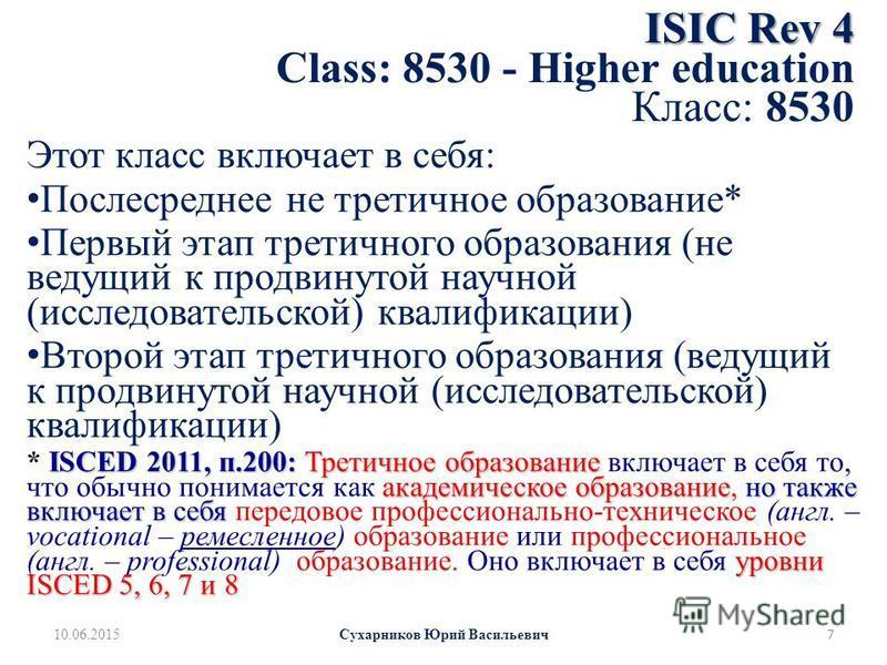 ISIC Rev 4 ISIC Rev 4 Class: 8530 - Higher education Класс: 8530 Этот класс включает в себя: Послесреднее не третичное образование* Первый этап третичного образования (не ведущий к продвинутой научной (исследовательской) квалификации) Второй этап тре