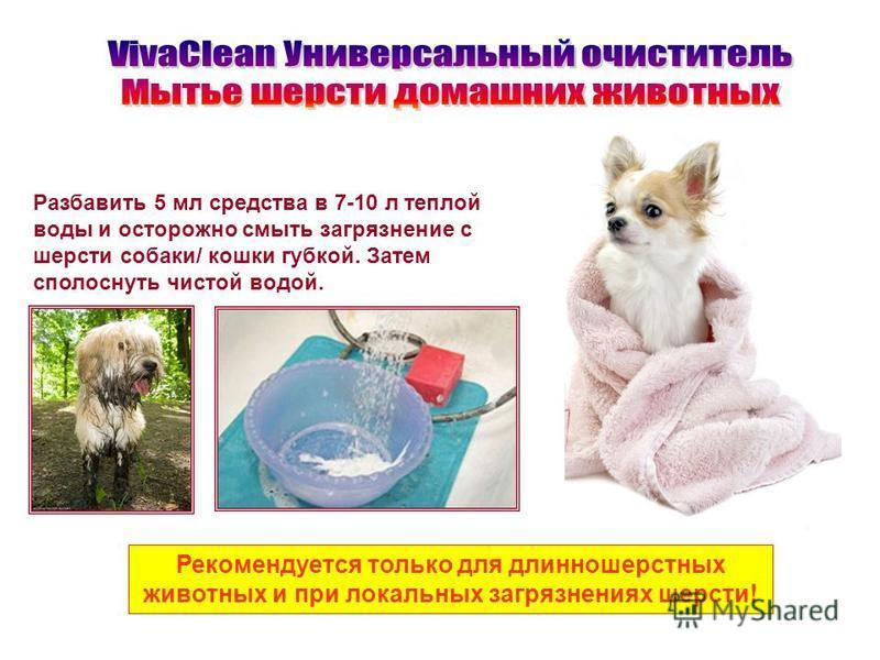 Разбавить 5 мл средства в 7-10 л теплой воды и осторожно смыть загрязнение с шерсти собаки/ кошки губкой. Затем сполоснуть чистой водой. Рекомендуется только для длинношерстных животных и при локальных загрязнениях шерсти!