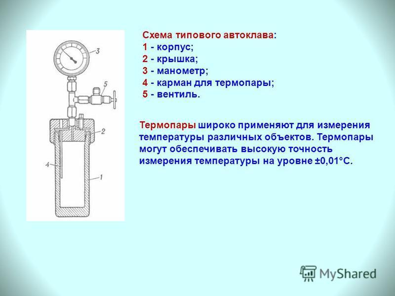Схема типового автоклава: 1 - корпус; 2 - крышка; 3 - манометр; 4 - карман для термопары; 5 - вентиль. Термопары широко применяют для измерения температуры различных объектов. Термопары могут обеспечивать высокую точность измерения температуры на уро