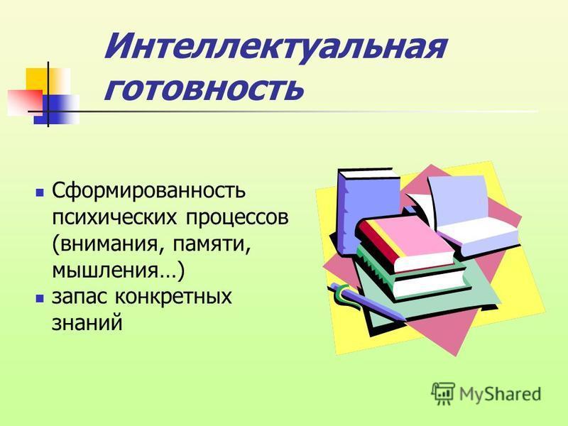 Сформированность психических процессов (внимания, памяти, мышления…) запас конкретных знаний Интеллектуальная готовность