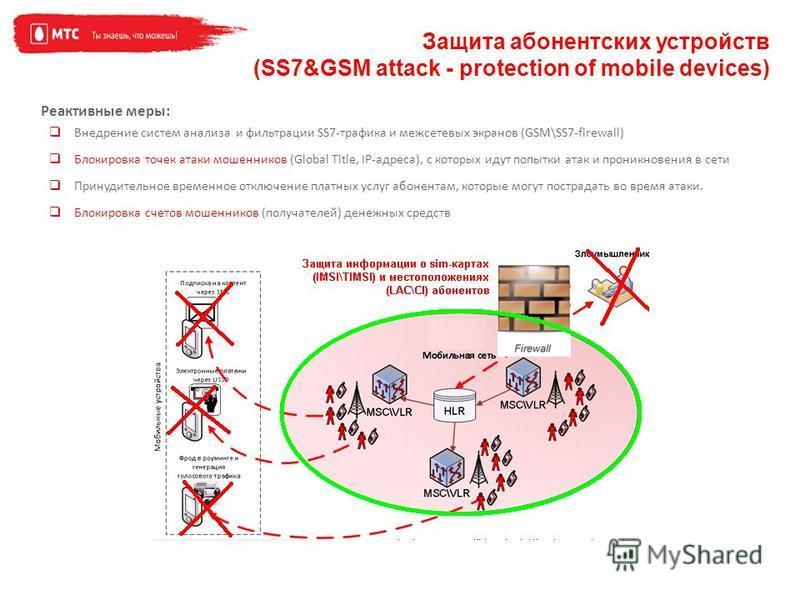 Защита абонентских устройств (SS7&GSM attack - protection of mobile devices) Реактивные меры: Внедрение систем анализа и фильтрации SS7-трафика и межсетевых экранов (GSM\SS7-firewall) Блокировка точек атаки мошенников (Global Title, IP-адреса), с кот