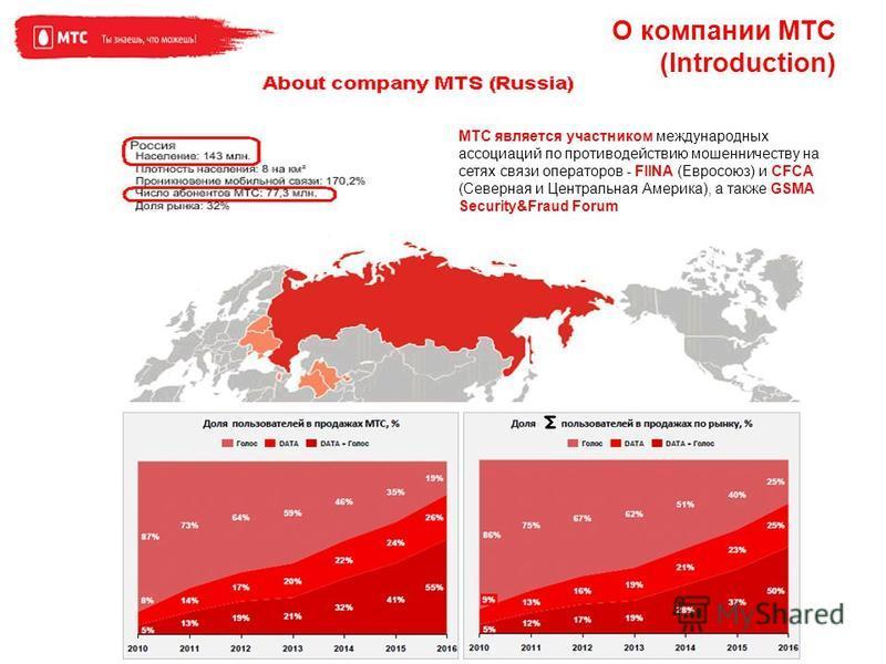 О компании МТС (Introduction) МТС является участником международных ассоциаций по противодействию мошенничеству на сетях связи операторов - FIINA (Евросоюз) и CFCA (Северная и Центральная Америка), а также GSMA Security&Fraud Forum
