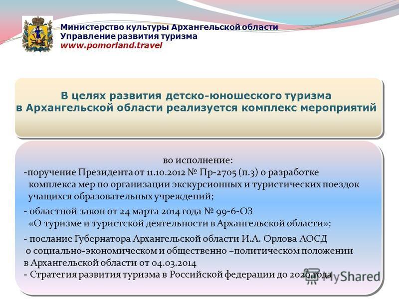 во исполнение: -поручение Президента от 11.10.2012 Пр-2705 (п.3) о разработке комплекса мер по организации экскурсионных и туристических поездок учащихся образовательных учреждений; - областной закон от 24 марта 2014 года 99-6-ОЗ «О туризме и туристс