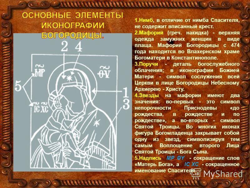 1.Нимб, в отличие от нимба Спасителя, не содержит вписанный крест. 2. Мафорий (греч. накидка) - верхняя одежда замужних женщин в виде плаща. Мафорий Богородицы с 474 года находится во Влахернском храме Богоматери в Константинополе. 3. Поручи - деталь