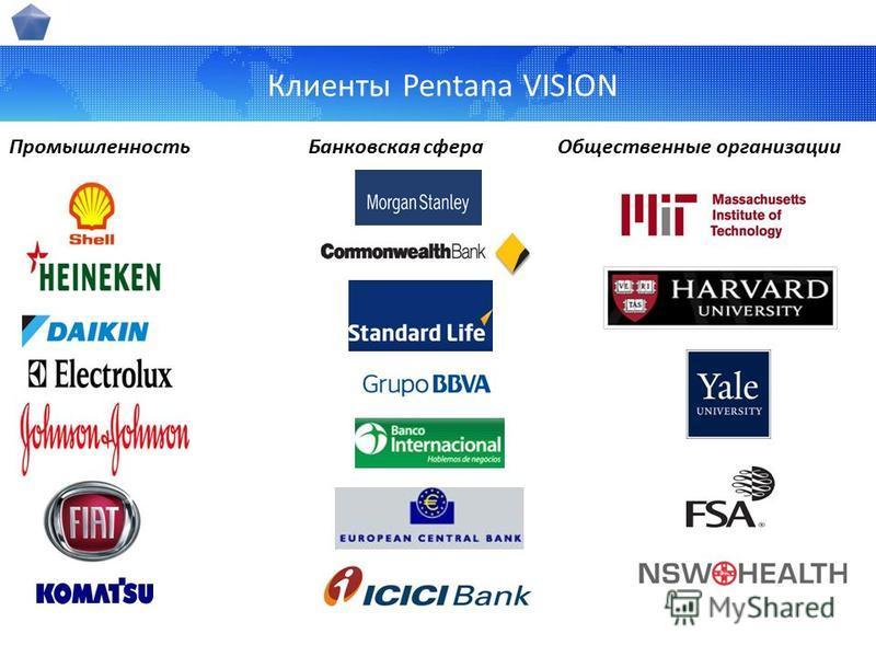 Клиенты Pentana VISION Промышленность Банковская сфера Общественные организации