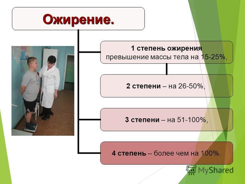 Ожирение. 1 степень ожирения превышение массы тела на 15-25%, 2 степени – на 26- 50%, 3 степени – на 51- 100%, 4 степень – более чем на 100%.
