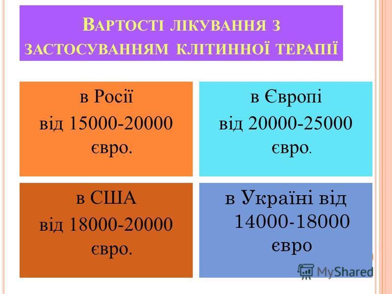 В АРТОСТІ ЛІКУВАННЯ З ЗАСТОСУВАННЯМ КЛІТИННОЇ ТЕРАПІЇ в Росії від 15000-20000 євро. в Європі від 20000-25000 євро. в США від 18000-20000 євро. в Україні від 14000-18000 євро