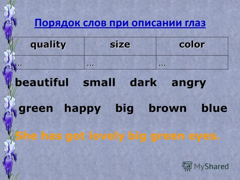 Порядок слов при описании глаз qualitysizecolor ……… beautiful small dark angry green happy big brown blue She has got lovely big green eyes.