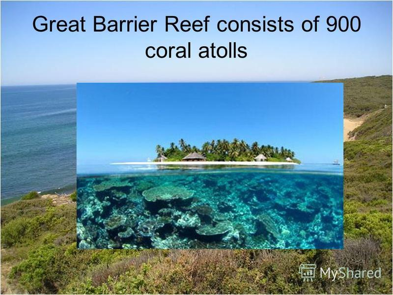 Great Barrier Reef consists of 900 coral atolls