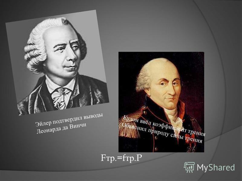 Кулон ввёл коэффициент трения Объяснил природу силы трения Эйлер подтвердил выводы Леонарда да Винчи F тр. =f тр. P