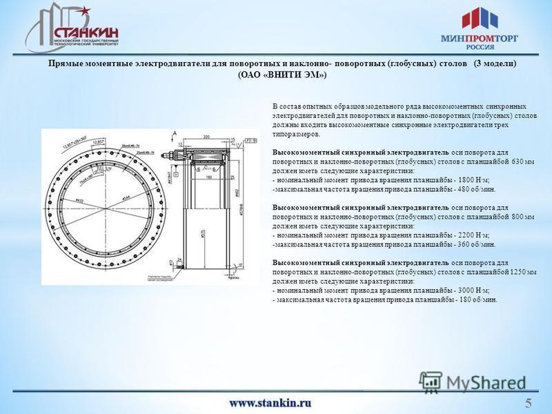 3 5 Прямые моментные электродвигатели для поворотных и наклонно- поворотных (глобусных) столов (3 модели) (ОАО «ВНИТИ ЭМ») В состав опытных образцов модельного ряда высокомоментных синхронных электродвигателей для поворотных и наклонно-поворотных (гл