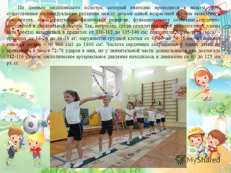 По данным медицинского осмотра, который ежегодно проводится в нашем ДОУ, существенные индивидуальные различия между детьми одной возрастной группы выявлены в показателях, характеризующих физическое развитие, функциональное состояние сердечно- сосудис