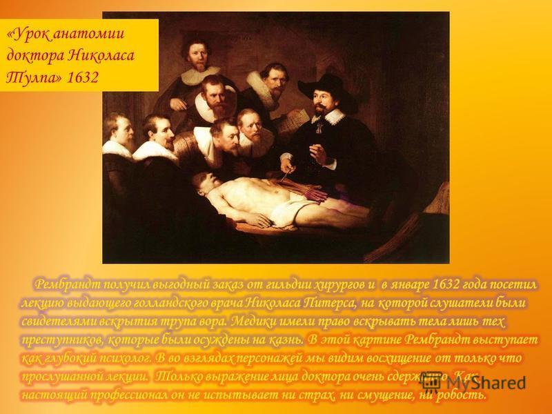 «Урок анатомии доктора Николаса Тулпа» 1632