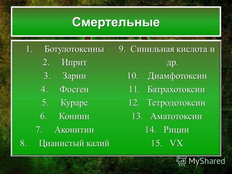 Смертельные 1. Ботулотоксины 2. Иприт 3. Зарин 4. Фосген 5. Кураре 6. Кониин 7. Аконитин 8. Цианистый калий 9. Синильная кислота и др. 10. Диамфотоксин 11. Батрахотоксин 12. Тетродотоксин 13. Аматотоксин 14. Рицин 15.VX