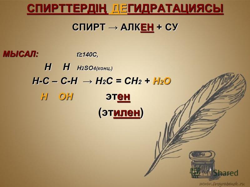 СПИРТТЕРДІҢ ДЕГИДРАТАЦИЯСЫ СПИРТ АЛКЕН + СУ МЫСАЛ: t140C, Н Н Н 2 SO 4(конц.) Н Н Н 2 SO 4(конц.) Н-С – С-Н Н 2 С = СН 2 + Н 2 О Н-С – С-Н Н 2 С = СН 2 + Н 2 О Н ОН этен Н ОН этен (этилен) (этилен)