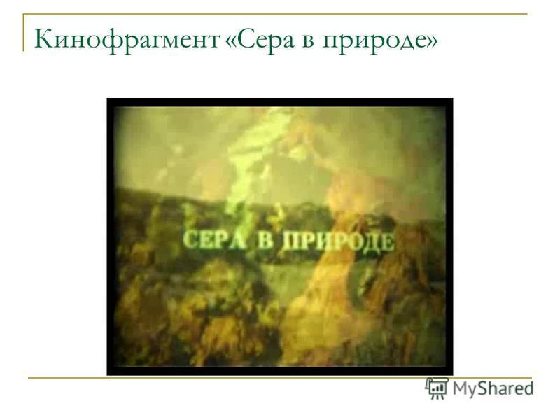 Кинофрагмент «Сера в природе»