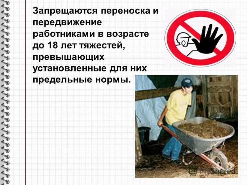 Запрещаются переноска и передвижение работниками в возрасте до 18 лет тяжестей, превышающих установленные для них предельные нормы.