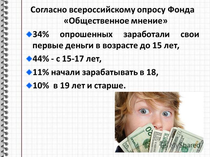 Согласно всероссийскому опросу Фонда «Общественное мнение» 34% опрошенных заработали свои первые деньги в возрасте до 15 лет, 44% - с 15-17 лет, 11% начали зарабатывать в 18, 10% в 19 лет и старше.