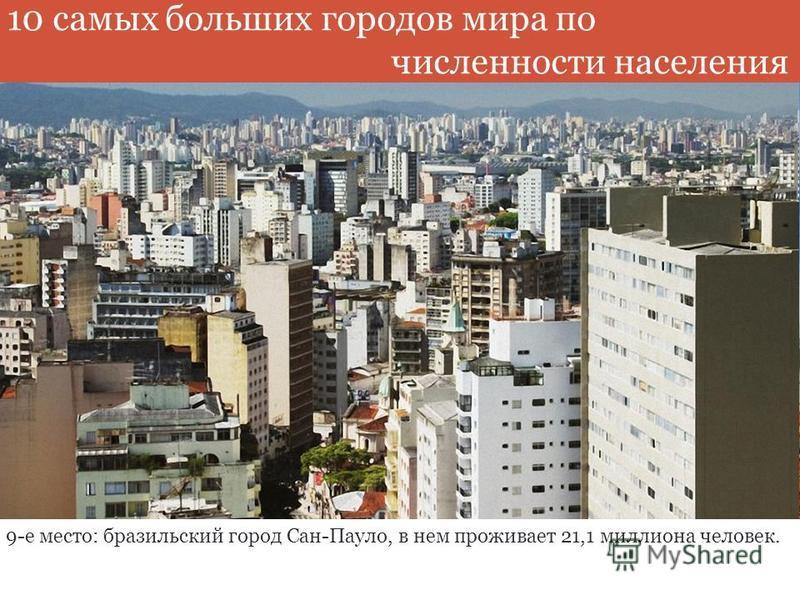 9-е место: бразильский город Сан-Пауло, в нем проживает 21,1 миллиона человек. 10 самых больших городов мира по численности населения