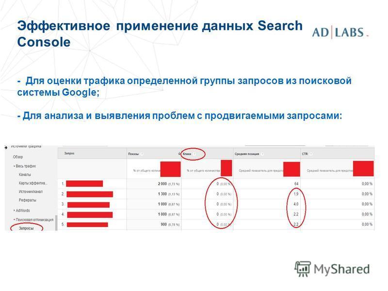 Эффективное применение данных Search Console - Для оценки трафика определенной группы запросов из поисковой системы Google; - Для анализа и выявления проблем с продвигаемыми запросами: